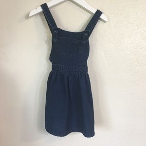 Denim look overall dress